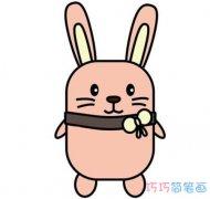 卡通兔子的画法涂色简单可爱 小白兔怎么画简笔画图片