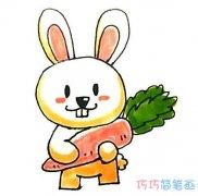 爱吃胡萝卜兔子怎么画可爱_带步骤图小兔简笔画图片