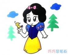 涂色白雪公主怎么画带步骤图 怎么画白雪公主简笔画图片