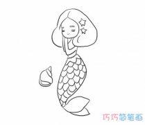 手绘美人鱼怎么画简单美丽 美人鱼的画法简笔画图片