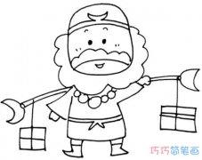 手绘西游记沙僧的画法简单可爱_沙僧简笔画图片