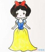 白雪公主的画法步骤图涂颜色_白雪公主简笔画图片