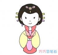 古代公主的画法步骤图带颜色_端庄公主简笔画图片