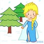 冰雪奇缘公主的画法步骤图带颜色 卡通公主简笔画图片