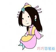 怎么画古代卡通小公主简单漂亮_彩色公主简笔画图片