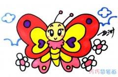 漂亮蝴蝶的画法手绘步骤图 彩色蝴蝶简笔画图片