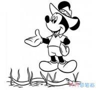 米老鼠抓泥鳅的画法简单可爱_米老鼠简笔画图片