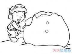 小男孩堆雪人怎么画简单可爱_小男孩简笔画图片
