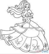 如何画跳舞的公主素描简单漂亮_手绘公主简笔画图片