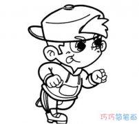 如何画跑步小男孩可爱活泼_卡通小男孩简笔画图片