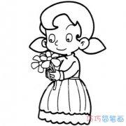 素描采花朵小女孩的画法简单可爱_小女孩简笔画图片