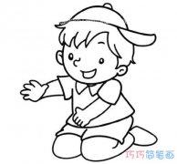 跪地上的小男孩怎么画简单可爱_素描小男孩简笔画图片