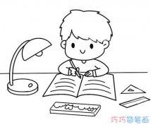 写作业小男孩怎么画素描好看_可爱小男孩简笔画图片