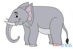 怎么画大象素描涂色手绘_卡通大象简笔画图片