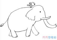 如何画最简单大象手绘好看_卡通大象简笔画图片