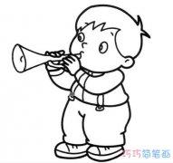 小男孩吹喇叭怎么画素描可爱_小男孩简笔画图片