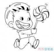 玩风车小男孩怎么画简单可爱 卡通小男孩简笔画图片