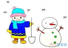 小男孩堆雪人的画法步骤图涂色 堆雪人小男孩简笔画图片