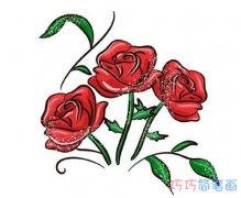 一步一步绘画彩色玫瑰花的画法步骤情人节简笔画