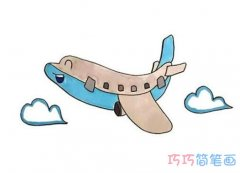 怎么画卡通飞机画法详细步骤图简笔画教程涂颜色