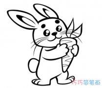 小兔子拔萝卜怎么画简笔画教程简单可爱