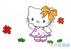 一步一步画Hello Kikty简笔画教程彩色可爱