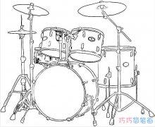 儿童架子鼓素描怎么画简单好看 架子鼓的画法图片
