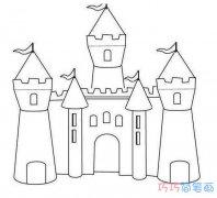 漂亮简单城堡怎么画简笔画图片