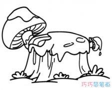 长蘑菇的树桩怎么画手绘简笔画图片