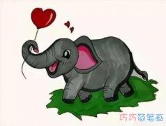 简笔画大象怎么画带步骤涂颜色简单