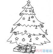 一步一步绘画圣诞树简笔画简单漂亮