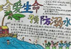 小学二年级珍爱生命 预防溺水手抄报怎么画简单好看
