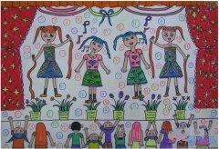 幼儿园庆祝六一儿童节晚会水彩画简单漂亮