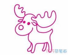 幼儿一步一步画圣诞驯鹿简笔画怎么画