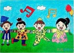 手拉手庆祝六一儿童节水彩画简单好看