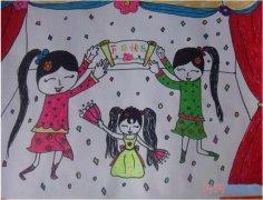 庆祝儿童节表演节目水彩画怎么画简单漂亮