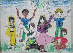 欢庆世界儿童节快乐蜡笔画怎么画简单漂亮