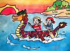 儿童画赛龙舟怎么画涂色水彩画简单漂亮