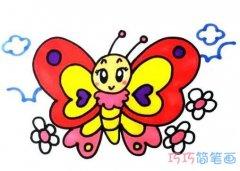美丽蝴蝶简笔画画法步骤教程带颜色