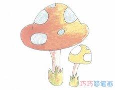 手绘彩色蘑菇简笔画画法步骤教程简单漂亮