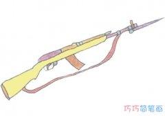 儿童玩具步枪简笔画画法步骤图涂颜色