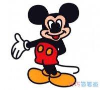 幼儿园卡通米老鼠简笔画 彩色米老鼠怎么画