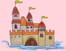 漂亮城堡手绘怎么画涂颜色简单步骤图