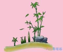 教你一步一步绘画竹子简笔画涂色简单漂亮
