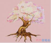 教你一步一步手绘樱花树简笔画涂色简单漂亮