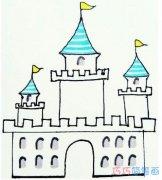 教你一步一步手绘城堡简笔画涂色简单漂亮