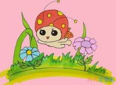 飞舞的七星瓢虫简笔画画法步骤教程带颜色