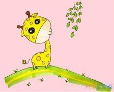教你如何画长颈鹿简笔画步骤教程涂颜色