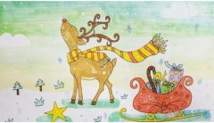 圣诞节麋鹿怎么画涂色带步骤图简单好看