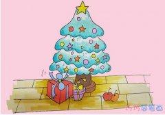 教你怎么绘画圣诞树简笔画步骤彩色漂亮